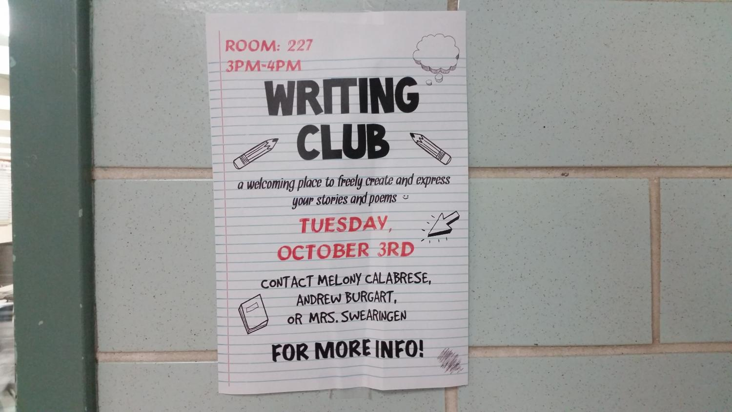 Writing Club poster outside room 227 showing dates and more information