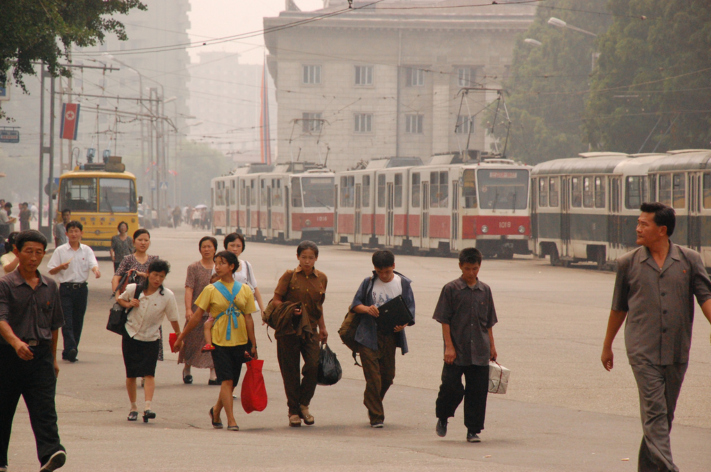 North Korean Citizens walk in the Streets of Pyongyang