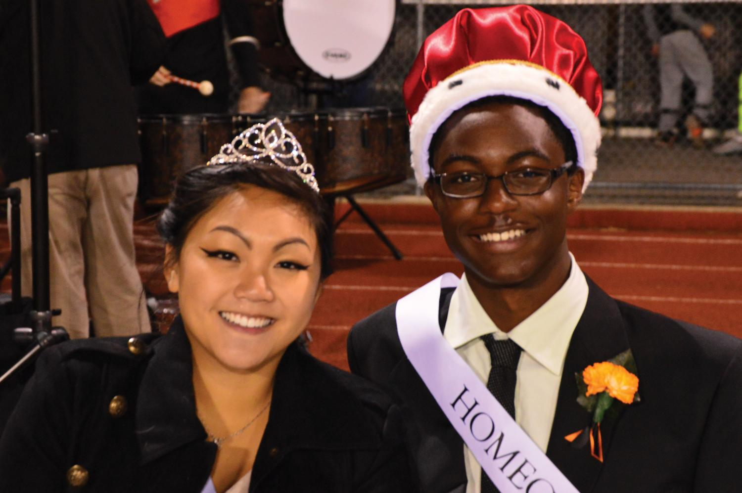 Photographed above is Homecoming King Ross G. and Queen Anne F.. The Arrows won against Madison in the Homecoming football game.