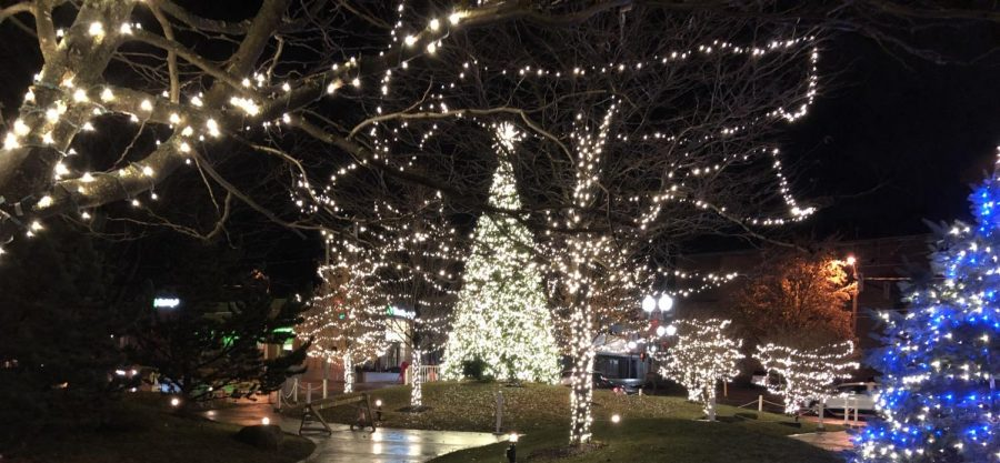 The city of Ashlands official Christmas tree illuminates Corner Park after the holiday parade. A crowd of several thousand gathered to see the tree lit.