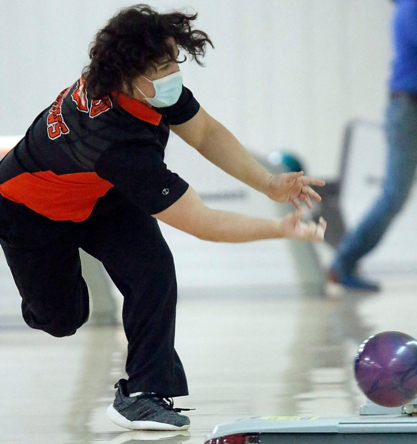 Arrows bowler Parker G.(10) bowls during his record breaking set.